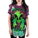 Digital Crying Alien Printed Round Neck Short Sleeve Casual Tee