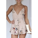 Fashion Floral Printed Spaghetti Straps Wrap Front Sleeveless Rompers