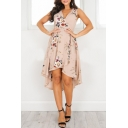 Floral Printed Wrap Front Sleeveless High Low Hem Asymmetrical Dress