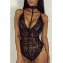 Crisscross Open Back Sexy Lace Inserted Sheer Bodysuit