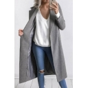 Fashion Lapel Long Sleeve Open Front Plain Tunic Woolen Coat