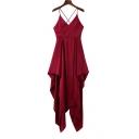 Spaghetti Straps Crisscross Open Back Plain Midi Asymmetrical Slip Dress