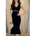 New Fashion Plunge Neck V Open Back Cut Out Waist Fishtail Trim Plain Midi Dress