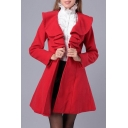 Ruffle Hem Lapel Collar Long Sleeve Plain A-Line Single Button Tunic Coat