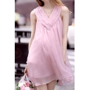 V Neck Sleeveless Plain Layered Summer's Chiffon Mini Dress