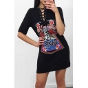 Sexy Lace-Up Front Short Sleeve Skull Graphic Printed Mini T-Shirt Dress