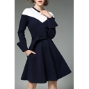 Round Neck Long Sleeve Color Block Tie Waist Chic A-Line Midi Dress