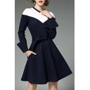 Round Neck Long Sleeve Color Block Tie Waist Chic A-Line Midi Dress