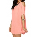 Round Neck Short Sleeve Cold Shoulder Plain Mini Leisure T-Shirt Dress