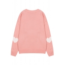 Round Neck Long Sleeve Sweet Heart Printed Pullover Knit Sweater