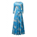 Round Neck Half Sleeve Chic Floral Printed Tie Waist A-Line Maxi Dress