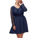 V Neck Lace Inserted Long Sleeve Oversize A-Line Plain Mini Dress