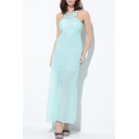 Elegant Cutout Back Lace Patchwork Sleeveless Plain Maxi Chiffon Dress