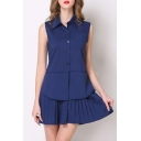 New Arrival Lapel Single Breasted Sleeveless False Two Pieces Pleated Dress