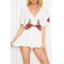 Plunge Neck Short Sleeve Floral Embroidered Summer's Leisure Rompers