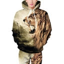 Digital Lion Pattern Long Sleeve Fashion Leisure Hoodie