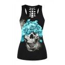 Floral Skull Printed Hollow Out Back Casual Sports Tank Top