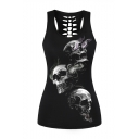 Smoke Skull Printed Cut Out Back Scoop Neck Sports Tank Top