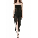 New Stylish Split Front Sheer Sleeveless Strapless Plain Maxi Tube Dress