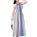 Round Neck Keyhole Back Sleeveless Colorful Striped Printed Maxi Beach Dress