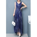 Boho Style V Neck Sleeveless Tie Waist Sequined Maxi A-line Dress