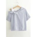 Fashion Cold Shoulder V-Neck Short Sleeve Striped/Plain Blouse Top