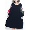 New Fashion Round Neck Half Sleeve Floral Embroidered Oversize Cotton Mini T-Shirt Dress