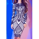 Round Neck Long Sleeve Color Block Geometric Printed Pencil Midi Dress