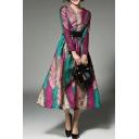 Elegant Round Neck Long Sleeve Color Block Zip Back Fashion A-Line Maxi Dress