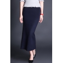 Elegant Fashion Plain Midi Bodycon Knitted Skirt
