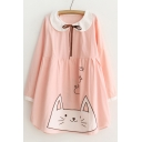 Contrast Collar Long Sleeve Color Block Cute Cat Printed Mini Smock Dress