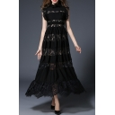 Elegant Lace Inserted Hollow Out Ruffle Collar A-Line Plain Maxi Dress