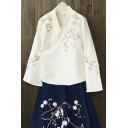 New Arrival Floral Embroidered Wrap V Neck Long Sleeve Kimono Blouse