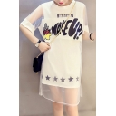 Summer's Layered Round Neck Short Sleeve Letter Printed Leisure T-Shirt Dress