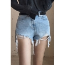New Arrival Summer's High Rise Ripped Hem Hot Pants Denim Shorts