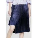 New Arrival Cutout Asymmetric Hem Plain Midi Pleated Skirt