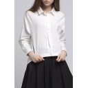 High Low Hem Zip Design Lapel Collar Long Sleeve Plain Cotton Shirt