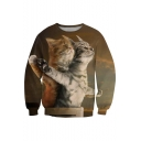 Lovely Couple Cat Printed Round Neck Long Sleeve Pullover Leisure Sweatshirt