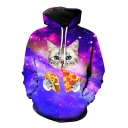 Cute Cat Pizza Galaxy 3D Printed Long Sleeve Hoodie Sweatshirt