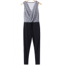 New Stylish Sleeveless Wrap Front Geometric Printed Jumpsuits