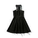 Crisscross Front Zip Back Sleeveless Plain Midi A-Line Dress