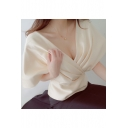 New Fashion Batwing Sleeve Half Sleeve Plunge Neck Plain Elegant Blouse