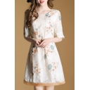Summer's Fresh Floral Printed Round Neck Half Sleeve A-Line Mini Dress