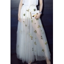 Elegant Mesh Embroidery Pattern Maxi A-Line Skirt