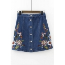 Floral Embroidered Buttons Down Summer's A-Line Mini Denim Skirt