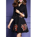 Chic Lapel V Neck 3/4 Sleeve Floral Embroidered A-Line Mini Dress