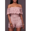 Off The Shoulder New Arrival Short Sleeve Lace Inserted Rompers