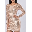 Sexy Sequined Open-Back Long Sleeve Mini Bodycon Dress