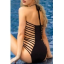 Sexy Plunge Neck Halter Neck Hollow Out One Piece Swimwear
