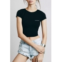 Letter Printed Simple Round Neck Short Sleeve Slim Cropped T-Shirt